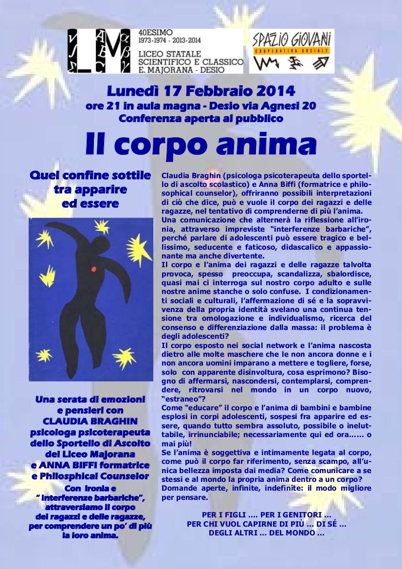 Il Corpo Anima - conferenza al liceo Majorana di Desio