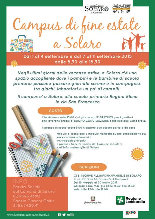 Campus a Solaro alla scuola primaria Regina Elena