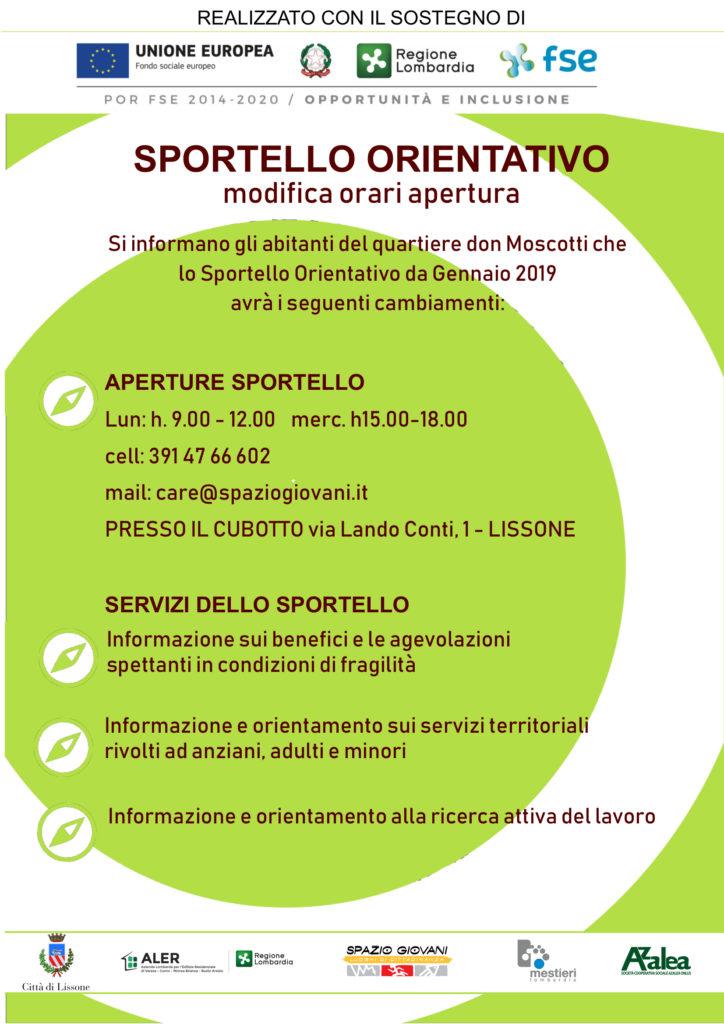 Sportello Orientativo Don Moscotti Lissone: cambio orari di apertura