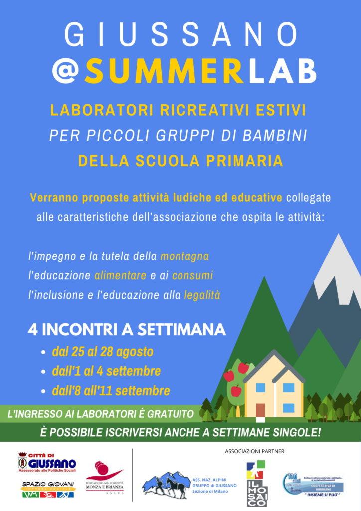 Giussano @SummerLab: dal 25 agosto laboratori ricreativi estivi per bambini!