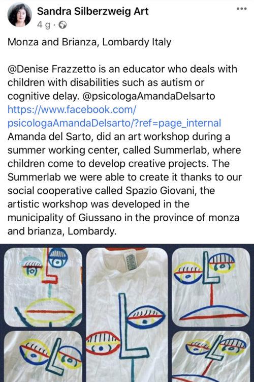 L'artista canadese Sandra Silberzueig ispira (e ringrazia!) il #SummerLab di Giussano
